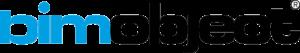 logo van BIM OBJECTS. text logo met bim in het blauw en object in het zwart. transparante achtergrond
